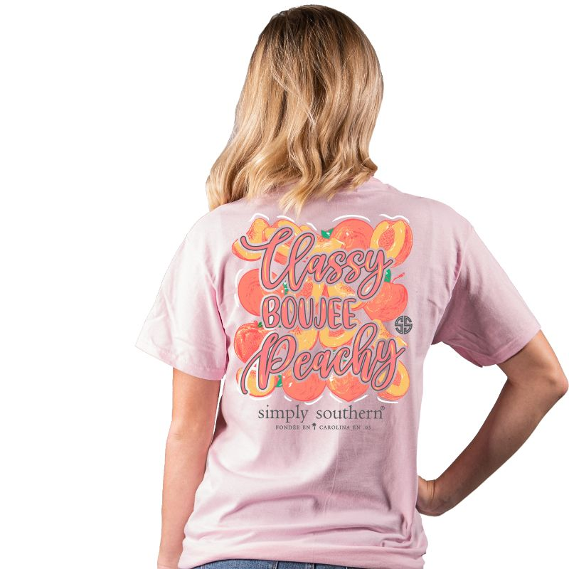Simply Southern Preppy Classy Boujee Peachy T-Shirt