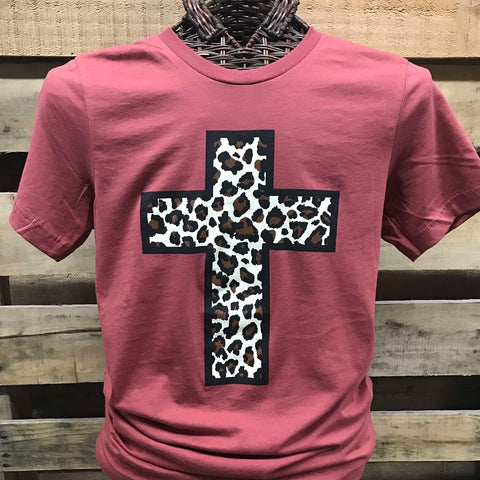 Southern Chics Apparel Leopard Cross Canvas T Shirt