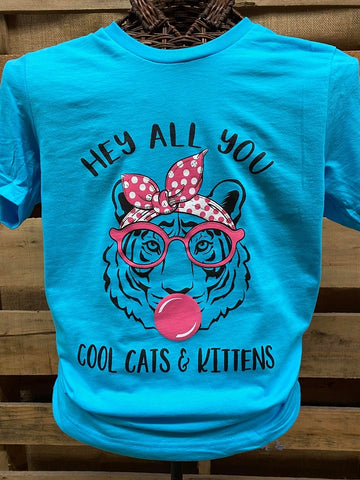 Southern Chics Hey All You Cool Cats & Kittens Tiger Canvas King T-Shirt