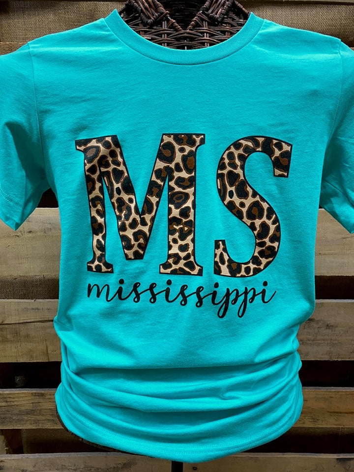 Southern Chics Apparel Mississippi Leopard State Canvas Bright T Shirt