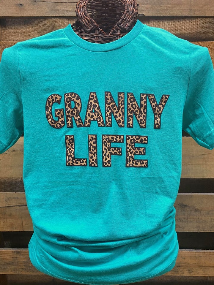 Southern Chics Apparel Granny Life Leopard Grandma Canvas Girlie Bright T Shirt