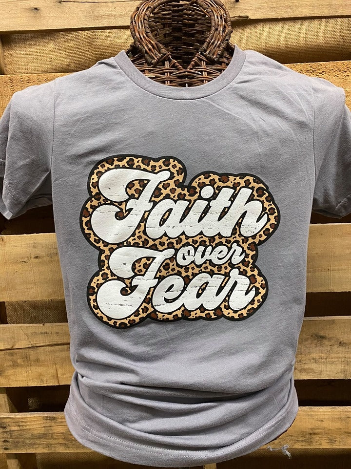 Southern Chics Apparel Leopard Faith Over Fear Canvas Bright T Shirt