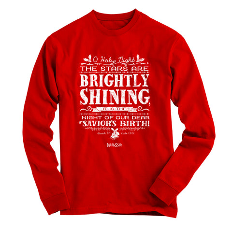 Cherished Girl The Stars Are Brightly Shining Christmas Christian Bright Long Sleeve T Shirt - SimplyCuteTees