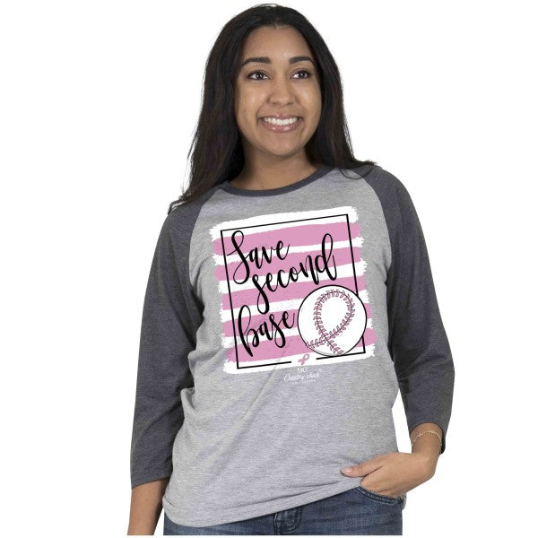 SALE Country Chick By Simply Southern Save 2nd Base Cancer Long Sleeve T-Shirt
