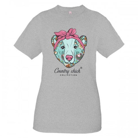Country Chick By Simply Southern Preppy Bowtie Bear T-Shirt
