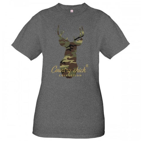 Country Chick By Simply Southern Preppy Camo Deer T-Shirt