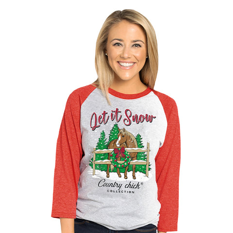 Country Chick By Simply Southern Let It Snow Horse Holiday Long Sleeve T-Shirt