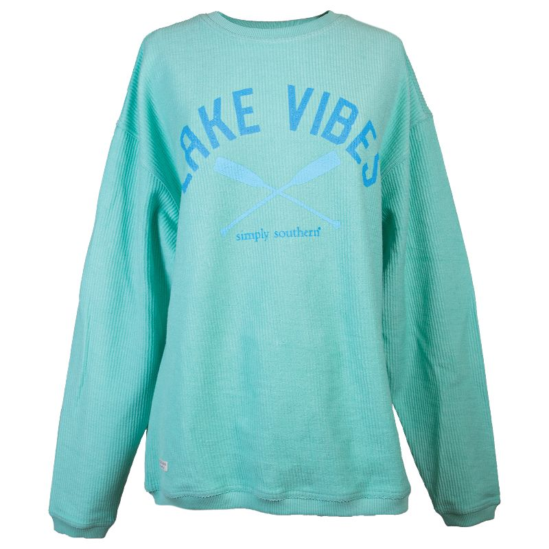 Simply Southern Lake Vibes Coastal Beach Crew Long Sleeve Sweatshirt