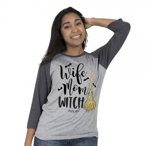 Country Chick By Simply Southern Wife Mom Witch Fall Long Sleeve T-Shirt