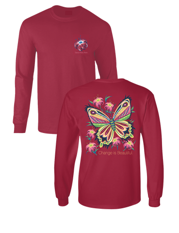 Sassy Frass Change is Beautiful Butterfly Comfort Colors Long Sleeves Bright Girlie T Shirt