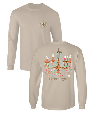 Sassy Frass Be the Light Chandelier Comfort Colors Long Sleeves Bright Girlie T Shirt