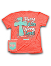 Cherished Girl Pray More Worry Less Chevron Cross Flower Christian Girlie Bright T Shirt - SimplyCuteTees