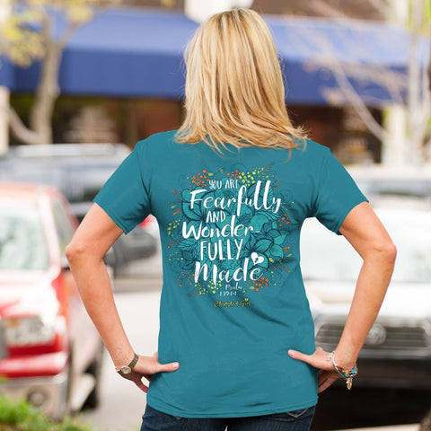 Cherished Girl Fearfully & Wonderfully Made Flowers Girlie Christian Bright T Shirt