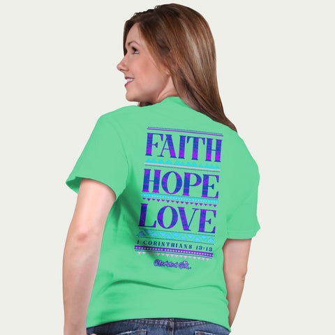 Cherished Girl Faith Hope Love Girlie Christian Bright T Shirt