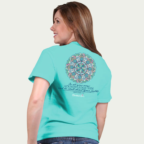 Cherished Girl Compass Acknowledge Him & He Will Direct Your Path Girlie Christian Bright T Shirt