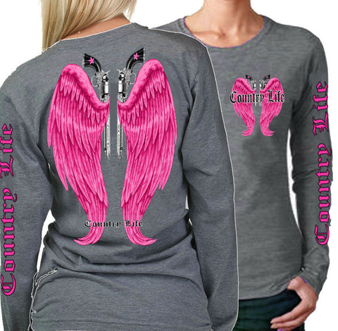 Country Life Outfitters Wings Guns Vintage Gray & Pink Long Sleeve Bright T Shirt - SimplyCuteTees