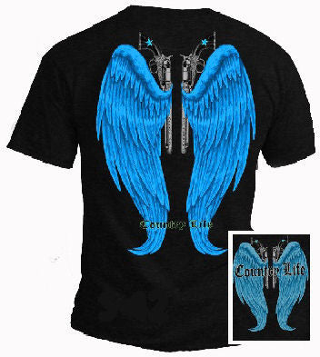 Country Life Outfitters Blue Wings Guns Vintage Unisex Black Bright T Shirt - SimplyCuteTees
