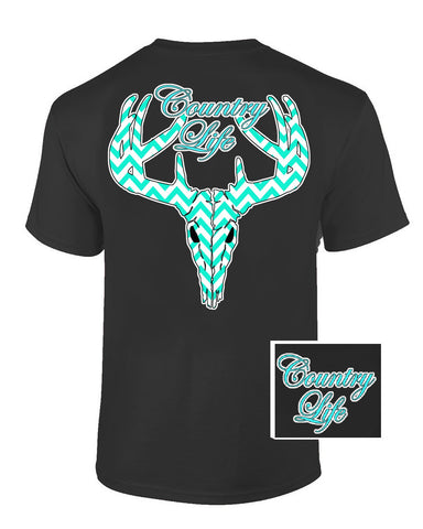 Country Life Outfitters Black & Aqua Chevron Sale Deer Skull Head Hunt Vintage Bright T Shirt