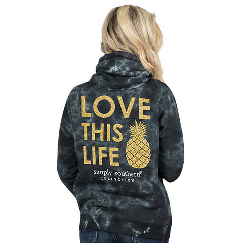 b73cea6fa97 Simply Southern Preppy Love Life Pineapple Cowl Neck Pullover Hoodie T-Shirt