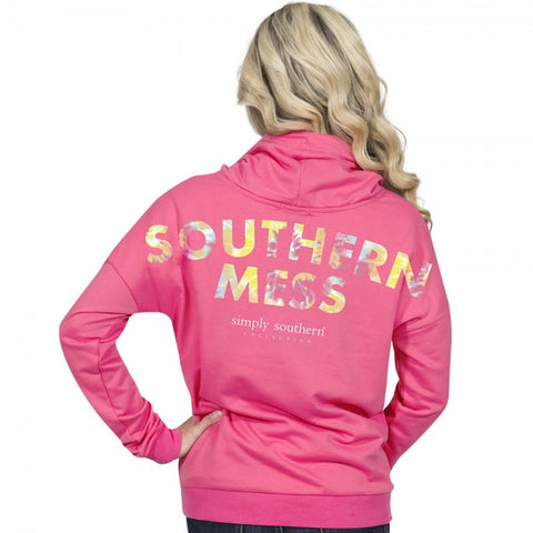 4836d8124ed Simply Southern Preppy Southern Mess Cowl Neck Pullover Hoodie T-Shirt