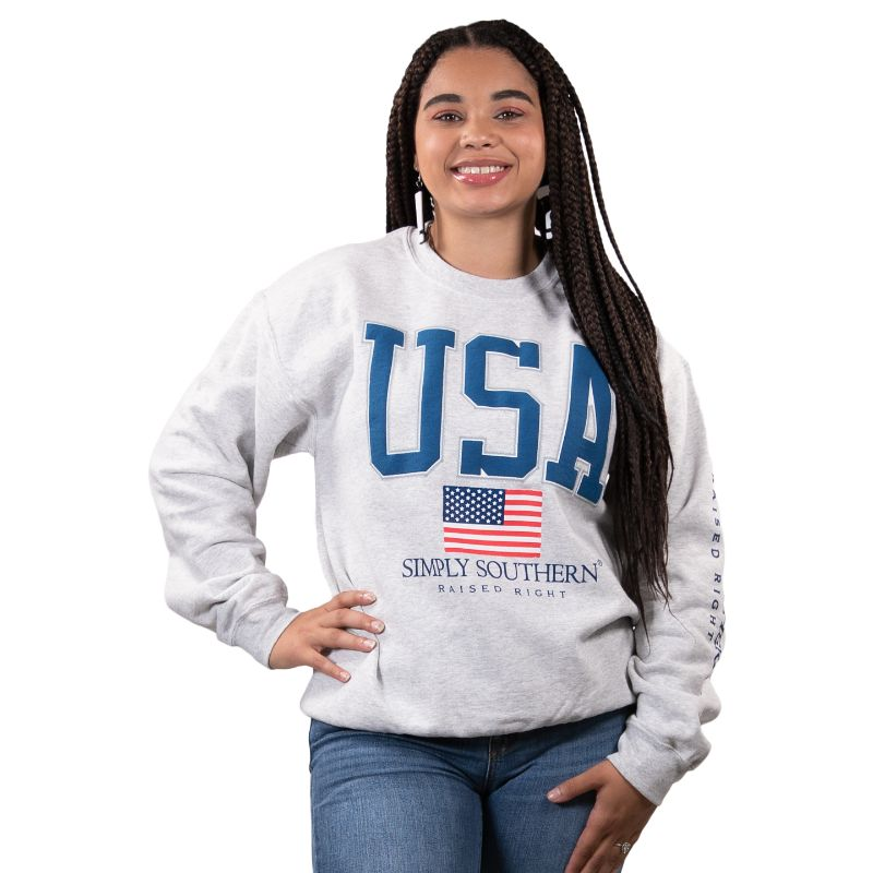 Simply Southern USA Fall Long Sleeve Crew Sweatshirt