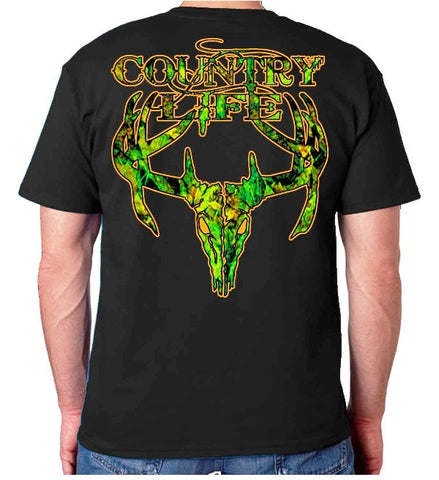 Country Life Outfitters Black & Orange Camo Realtree Deer Skull Head Hunt Vintage Unisex Bright T Shirt - SimplyCuteTees