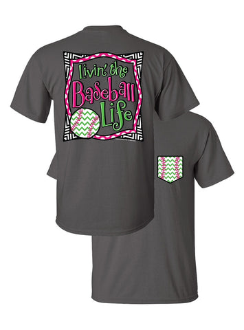 SALE Southern Couture Livin the Baseball Life Sports Chevron Faux Pocket Girlie Bright T Shirt