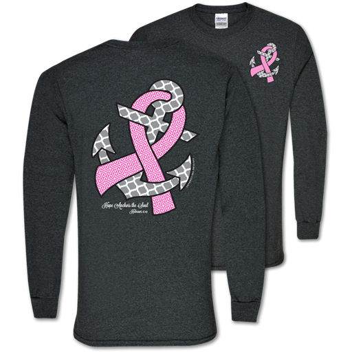 291621e5b Southern Couture Hope Anchors Breast Cancer Pink Ribbon Awareness Girl |  SimplyCuteTees