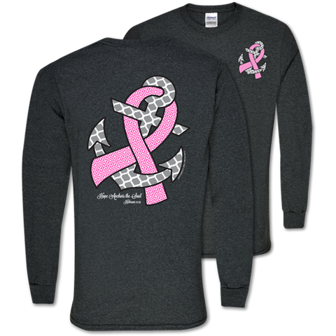 Southern Couture Hope Anchors Breast Cancer Pink Ribbon Awareness Girlie Long Sleeve Bright T Shirt