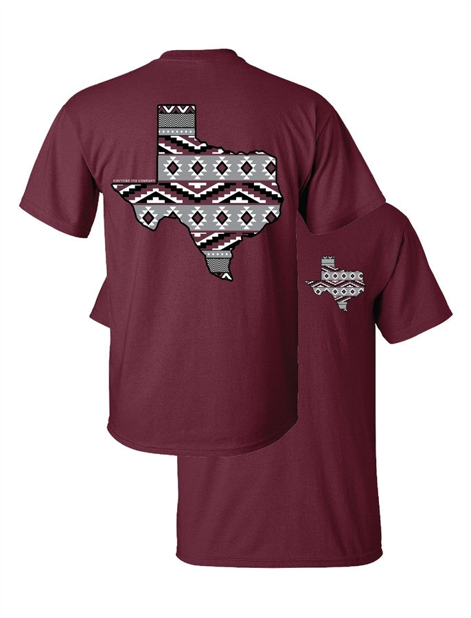Southern Couture Texas Aztec State Pattern Maroon Girlie Bright T Shirt - SimplyCuteTees