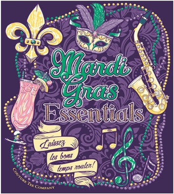 Southern Couture Mardi Gras Essentials Beads Music Fleur De Lis Mask Girlie Bright T Shirt - SimplyCuteTees