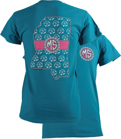 Southern Couture Mississippi Preppy Monogram State Girlie Bright T Shirt