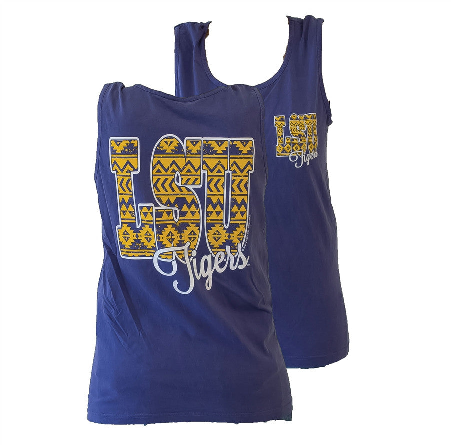 Southern Couture LSU Tigers  Louisiana State University Aztec Tribal Girlie Bright Tank Top - SimplyCuteTees