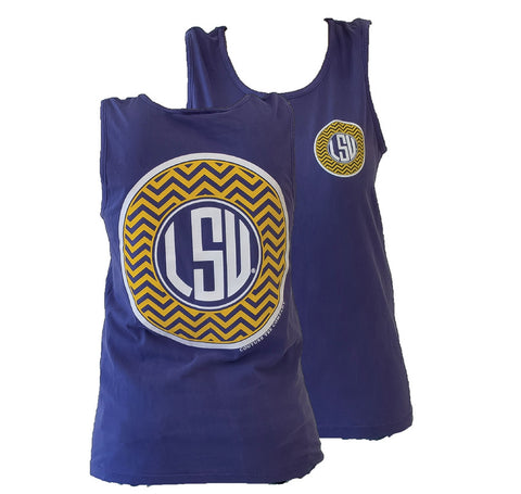 Southern Couture LSU Tigers Louisiana State University Chevron Monogram Logo Girlie Bright Tank Top