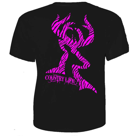 Country Life Outfitters Black & Pink Zebra Deer Head Hunt Vintage Bright T Shirt - SimplyCuteTees