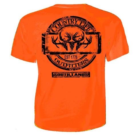 Country Life Outfitters Triple Deer Skull Southlands Hunt Vintage Unisex Orange Bright T Shirt - SimplyCuteTees