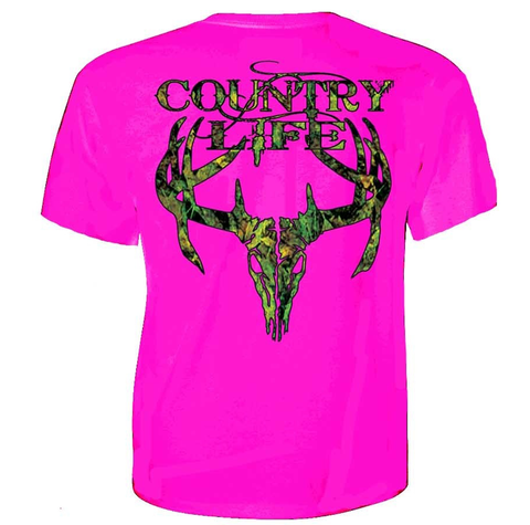 Country Life Outfitters Pink Camo Realtree Deer Skull Head Hunt Vintage Bright T Shirt - SimplyCuteTees