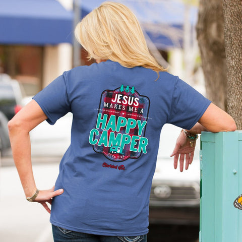 Cherished Girl Jesus Makes Me a Happy Camper Plaid Comfort Colors Girlie Christian Bright T Shirt