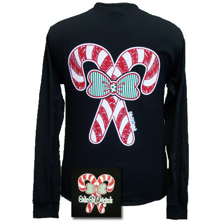 Girlie Girl Originals Christmas Candy Canes Big Bow Long Sleeves T Shirt - SimplyCuteTees