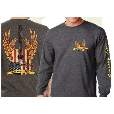 Country Life Outfitters USA American Flag Guitar Wings Vintage Unisex Gray Long Sleeves Bright T Shirt - SimplyCuteTees