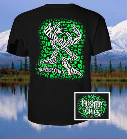 Country Life Outfitters Hunter Chick Black & Green Cheetah Deer Head Hunt Vintage Bright T Shirt - SimplyCuteTees