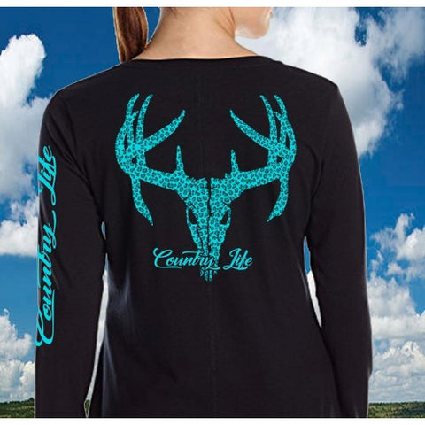 Country Life Outfitters Aqua Cheetah Deer Skull Long Sleeve T-Shirt