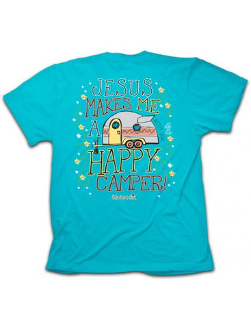 Cherished Girl Jesus Makes me a Happy Camper Christian Girlie Bright T Shirt - SimplyCuteTees