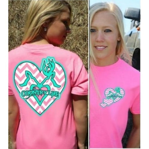 Country Life Outfitters Pink Chevron Deer Kiss Heart Love Hunt Vintage Bright T Shirt - SimplyCuteTees