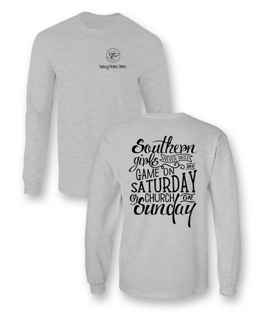 Sassy Frass Southern Girls Game on Saturday Church on Sunday Long Sleeve Bright Girlie T Shirt