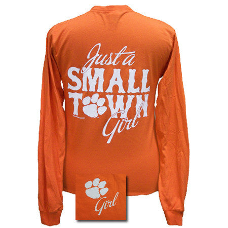 SALE South Carolina Clemson Tigers Small Town Girl Girlie Bright Long Sleeves T Shirt