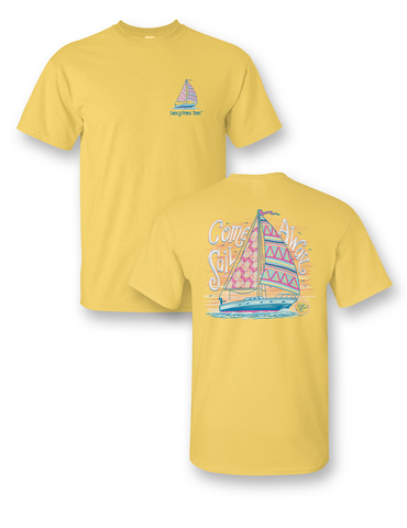 SALE Sassy Frass Come Sail Away Boat Girlie Bright T Shirt