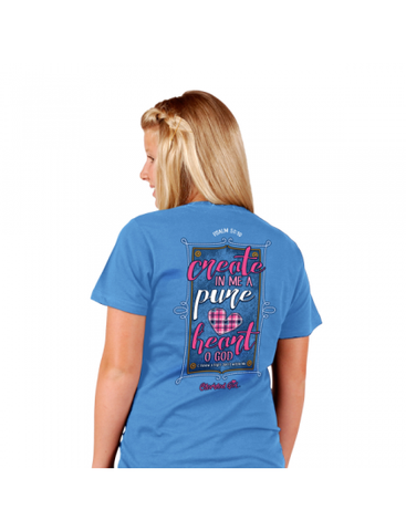 Cherished Girl Create in Me a Pure Heart Girlie Christian Bright T Shirt - SimplyCuteTees