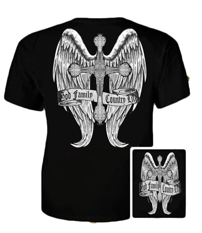 Country Life Outfitters Wings Cross God Faith Family Vintage Black Unisex Bright T Shirt - SimplyCuteTees