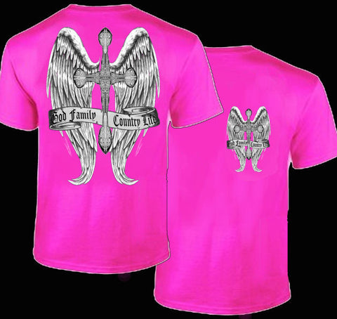 Country Life Outfitters Wings Cross God Faith Family Vintage Pink Bright T Shirt - SimplyCuteTees